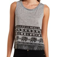Foiled Elephant Print Muscle Tee by Charlotte Russe - Heather Gray