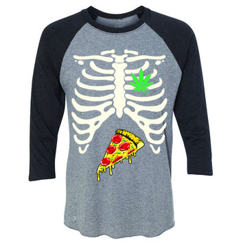 Zexpa Apparel™ Rib Cage Weed Pizza Muchies 3/4 Sleevee Raglan Tee Funny Gift Friend Tee