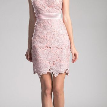 Sleeveless Lace Overlay Blush Cocktail Dress Short