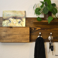 Rustic Wood Entryway Hall Foyer organizer Keys Phone Mail Holder Box Hat Coat Rack Nickel Hooks With Shelf Dark Walnut