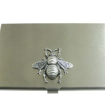 Silver Toned Large Bee Bug Insect Pendant Business Card Holder