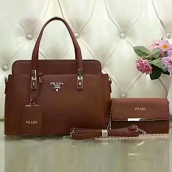 PRADA Women Trending Shopping Leather Satchel Tote Handbag Shoulder Bag Crossbody Set Two-Piece Brown I-LLBPFSH