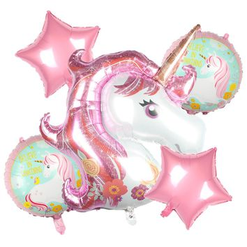 XXYYZZ 5Pcs/Lot Unicorn balloons 18 inch star Round Balloon Birthday Party Decor Kids Rainbow Balloons Unicorn Party Supplies