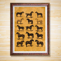 Horses poster Animal print Rustic decor