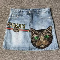 Gucci Women Casual Cat Letter Embroidery Denim Short Skirt