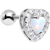 Stainless Steel White Faux Opal Heart Tragus Cartilage Earring | Body Candy Body Jewelry