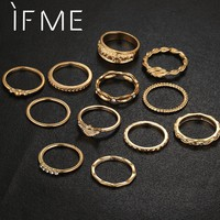 IF ME 12pcs/Lot  Eagle Crystal Ring Set For Engagement Women Jewelry Accessories Midi Finger Ring Punk Party For Girls Anillos