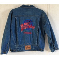 Planet Hollywood Vintage 90s Denim Jacket Embroidered Blue Jean Trucker Rodeo XL