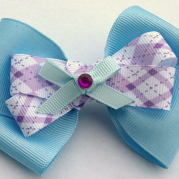 blue and lavender stacked hair bow- pastel accessories- one of a kind bows