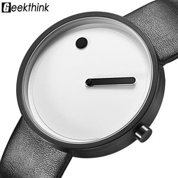 GEEKTHINK New Fashion Simple Designer Creative Quartz watch men Luxury Casual Black JAPAN Analog Men Relogio Masculino clock