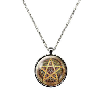Celtic Pentagram- Necklace Jewelry stainless steel casing crystal glass pendant with Celtic pentagram print.