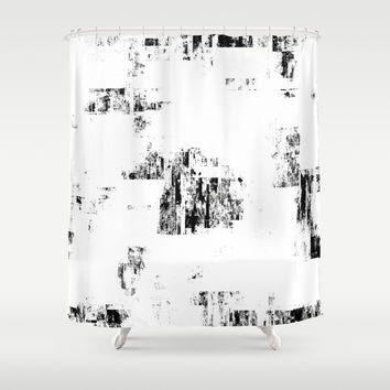 Glitch Panda 9 Shower Curtain by HappyMelvin Graphicus