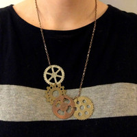 Steampunk Metal Gear Necklace in Silver, Gold and Bronze