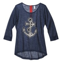 Xhilaration® Junior's Anchor Knit Top - Blue