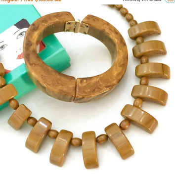 Modernist Carmel & Chocolate Swirl Bakelite Demi, Necklace and Hinged Bangle, Geometric Modernist Mid-Century Design, Simicrome Tested 1950s