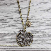 bronze body chain necklace, the necklace, heart-shaped necklace gift -- friendship