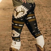 Merry Christmas Deer Print Fashion Leggings for Women