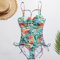 2019 New Solid Color Bikini Bandage Pineapple Print Swimsuit One Piece