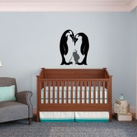 Penguin Family with Baby - Vinyl Wall Art Decal for Homes, Kids Rooms, Nurseries, Preschools, Kindergartens, Elementary Schools, Middle Schools, High Schools, Universities, Colleges