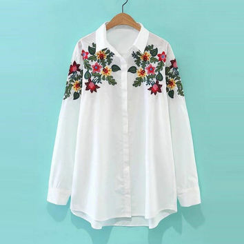 Tangada Korean Style Fashion Floral White Blouses Shirts Embroidery Clothes For Women Camisas E Blusas Casual Brand Tops MM19