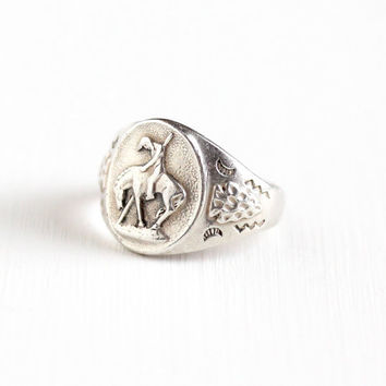 Vintage Sterling Silver Repousse Native American & Horse Design Ring - 1960s Size 7 Retro Southwestern Tribal Bell Trading Co. Jewelry