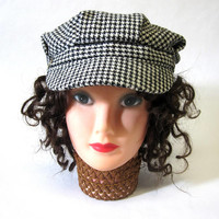 Black White Houndstooth Newsboy Cap Twiggy Hat