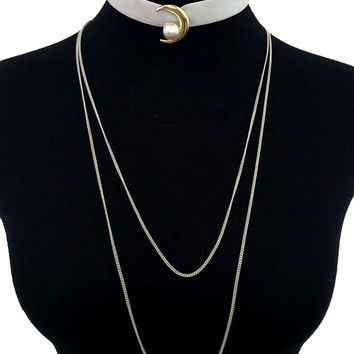 Moon and Pearl Velvet Layered Choker - Ivory
