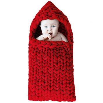 Newborn Sleeping Bag Baby for Stroller Wrap Winter Thick Keep Warm Woolen Solid Sleepsack Swaddle Blankets for Babies
