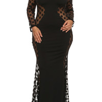 Plus Size Sexy Polka Dot Mesh Panel Maxi Dress