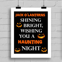 Happy Halloween Jack O Lantern Word Art Print - Halloween Themes Printable Holiday Home Decor Wall Art (JPG/PDF) 8x10