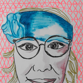 Mixed media, Drawing, Portait, Glasses, Original, Paper, Small, Watercolour, Hipster, Sketch, Pink, Artwork, Teal, Red, Graphite, Geometric