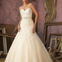 Mori Lee 1861 Lace Fit and Flare Wedding Dress