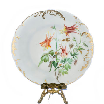 Antique Limoges Plate H & L Co 1800s Victorian Porcelain Cabinet Plate Hand Painted Orange Floral Pattern Heavy Gold Edges Collectible Limoges Plates