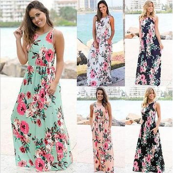 Women Floral Print Sleeveless Boho Dress Evening Gown Party Long Maxi Dress Summer Sundress Casual Dresses OOA3240