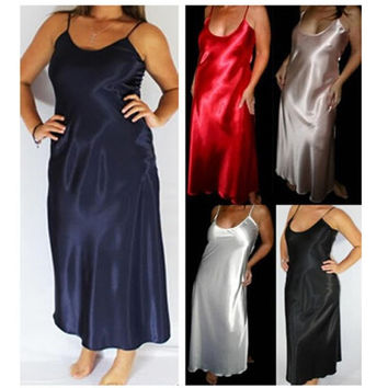 Plus Size XXXL 5 Colors Women Long Nightwear Faux Silk Satin Night Dress Girls Sleepwear Nightgown Nightdress Night Down B276
