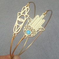 Hamsa Hands Bangle 2 Bracelet Set on Luulla