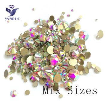 YANRUO Mix Crystal White AB Rhinestone Stones Glass Flatback Crystals Nail Art Craft Flat Back Stones Mixed Rhinestones