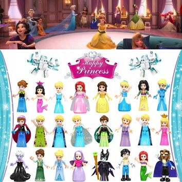 LEGOing Princess Figures Toys Snow White Belle Elsa Ariel Cinderella LEGOing Friends Figure Blocks Dolls For Girl Birthday Gifts