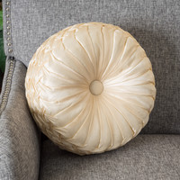 """14"""" Round Single Champagne Sateen Accent Throw Pillow"""