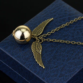 2016 Harry Potter And The Deathly Hallows Necklace Gold Snitch Exquisite Ball Wings Feather Necklaces for women and man -Christmas Gift