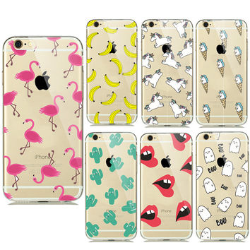 New Summer Fruit Banana Unicorn Transparent Silicone Soft TPU Cases for iPhone 7 7plus 5 5S SE 6 6s Cactus Flamingo Phone Covers