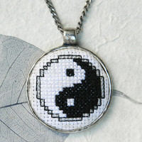 Yin Yang cross stitch embroidered pendant necklace black and white