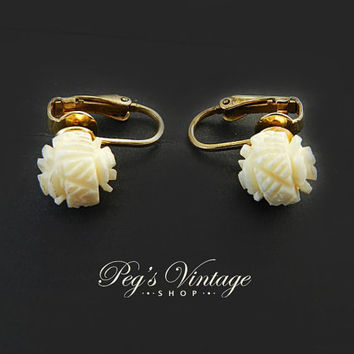Vintage Ivory Carved Celluloid Sterling Earrings, Rosebud Flower Gold Clip Earrings