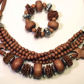 African Safari Style Wooden Jewelry Set  / 5 Strand Necklace, Stretch Bracelet / Hand Carved Elephant Beads / Round Wooden Inlay Earrings