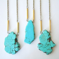 Turquoise Necklace - Organic Freeform Slab - Bohemian - Layering Necklace