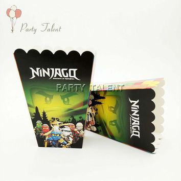 ONETOW 6pcs/lot Popcorn Box for Kids Children Lego Ninjago Theme Birthday Party  Baby Shower Party Decoration Party Supplies