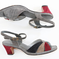 "Retro leather vintage four-color Selby sandals heels size 6.5, 2"" heel"