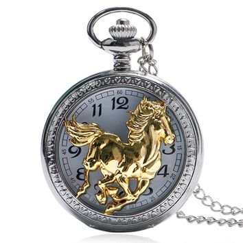 Steampunk Running Horse Carving Quartz Pocket Watch Half Hunter Silver Gold Fob Clock Pendant With Necklace Chain Men Women Gift