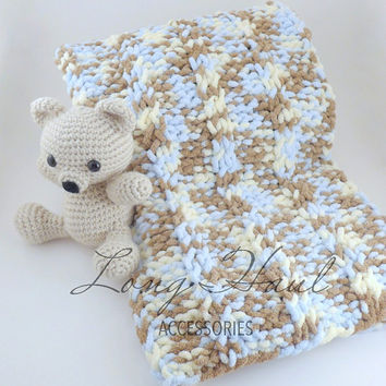 Baby Blanket, Knit Baby Blanket, Photography Prop, Boy Blanket, Blanket, Knit Blanket, Knit Afghan, Baby Boy Knit Blanket, Baby Teddy Bear