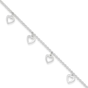925 Sterling Silver Rolo Chain Swinging Hearts Dangle Ankle Bracelet